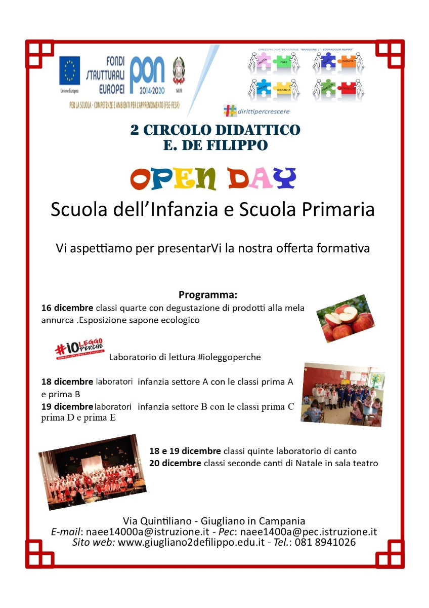 Open Day - 16 -20 dicemre 2019